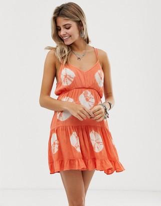 En Creme tie dye smock dress-Orange