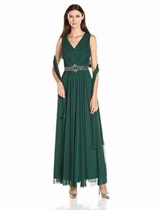 Jessica Howard Women's Basketweave V-Neck Beaded Waist Dress with Shirred Skirt