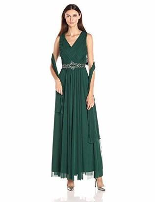 Jessica Howard JessicaHoward Women's Basketweave V-Neck Beaded Waist Dress with Shirred Skirt