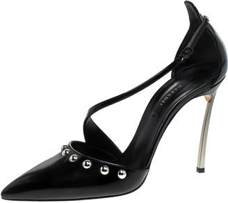 Casadei Black Leather Embellished Ankle Strap Sandals Size 39.5