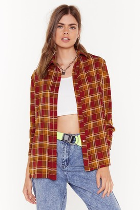 Nasty Gal Womens Checked Out of This Conversation Oversized Shirt - Red