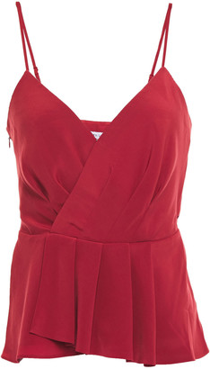 Bailey 44 Annabelle Wrap-effect Pleated Satin Camisole