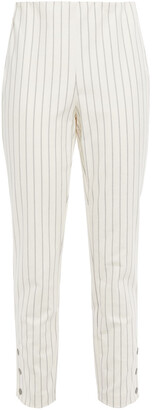 Rag & Bone Simone Cropped Snap-detailed Pinstriped Cotton-blend Slim-leg Pants