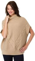 Haggar Women's Mitered Cable-Knit Poncho Sweater