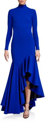 SOLACE London Mina Long-Sleeve Asymmetrical Maxi Dress