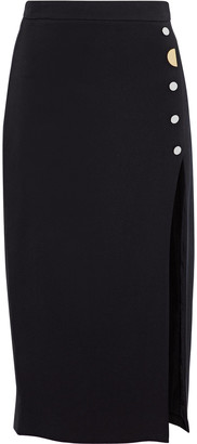 Cushnie Button-embellished Crepe Midi Skirt