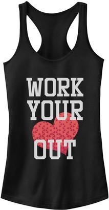 Fifth Sun Juniors' Workout Heart Racerback Tank Top