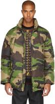 Moschino Green Camo Down Coat