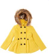 Urban Republic Mustard Faux Fur-Accent Pleated Peacoat - Toddler