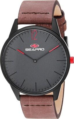Seapro Men's Black Hole Stainless Steel Quartz Leather Calfskin Strap Brown 20 Casual Watch (Model: SP0101)