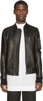 Rick Owens Black Leather Bomber Jacket