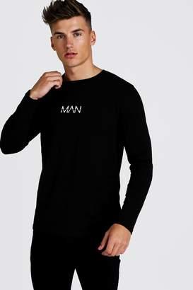 BoohoomanBoohooMAN Mens Black Original MAN Long Sleeve T-Shirt, Black