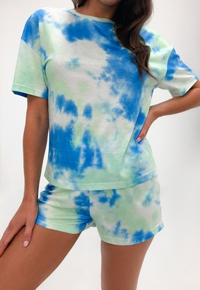 Missguided Blue Tie Dye T Shirt And Shorts Loungewear Set
