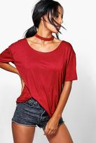 Boohoo Tara Raw Edge Choker Style SS T-Shirt