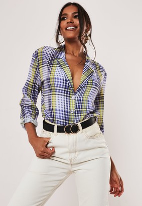 Missguided Lilac Check Plunge Blouse