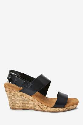 Next Womens Black Forever Comfort Cork Detail Two Band Wedges - Black