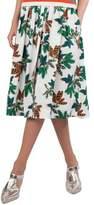 Tropical-Leaves Pleated Printed Midi Skirt