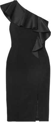 Michael Kors One-shoulder Ruffled Satin-trimmed Wool-blend Crepe Dress