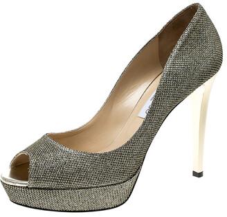 Jimmy Choo Metallic Gold Lame Glitter Fabric Dahlia Platform Peep Toe Pumps Size 41