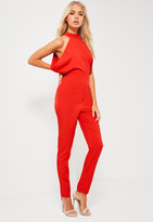 Missguided Red Drape Side High Neck Tailored Romper