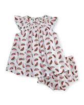 Stella McCartney Sage Smocked Watermelon Dress w/ Bloomers, White, Size 12-24 Months