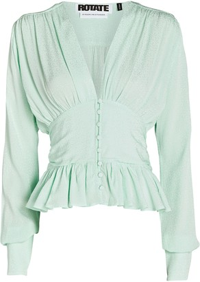 Rotate by Birger Christensen Tracy Draped Satin Blouse