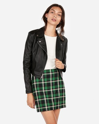 Express Vegan Leather Cropped Zip Moto Jacket
