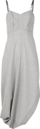 3.1 Phillip Lim Wool Chambray Bustier Dress W Asymmetrical Hem