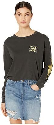 RVCA Voltage Long Sleeve Boyfriend (Black) Women's Clothing