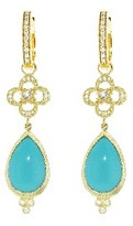 Jude Frances Clover and Turquoise Earring Charms - Yellow Gold
