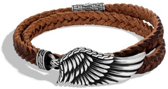 John Hardy Legends Eagle Silver Double Wrap Braided Leather Cord Bracelet