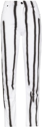 Eckhaus Latta High-Waisted Striped Skinny Jeans