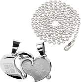 Unisex Stainless Steel Pendant Necklace Silver Couples Stone Heart Love L83