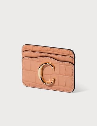Chloé C Croco Embossed Card Holder