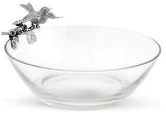 Vagabond House Pewter Song Bird on Glass Serving Bowl