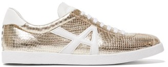 Aquazzura The A Sneaker Snake-effect Leather Trainers - Gold