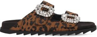Roger Vivier 20mm Slidy Viv Leopard Canvas Sandals