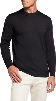 Fedeli Men's Solid Merino Wool Crew Sweater