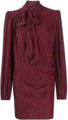 Marc Jacobs metallic-striped tie-neck mini dress