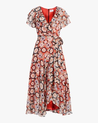 Temperley London Crochet Print Wrap Dress