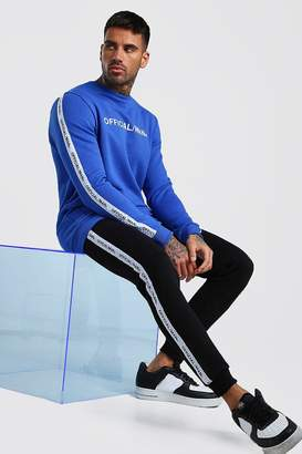 boohoo Contrast Official MAN Tape Sweater & Jogger Set
