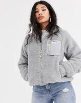 Bershka zip up teddy jacket in gray