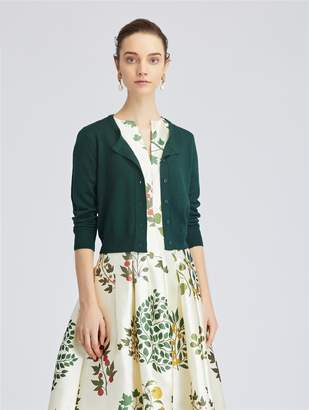 Oscar de la Renta Spruce Cashmere and Silk-Blend Cardigan
