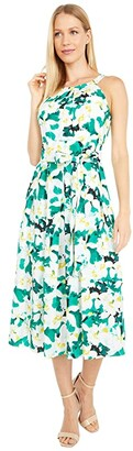 Vince Camuto Printed Crepe De Chine Halter Neck Wide Inset Waistband Midi (Green Multi) Women's Dress