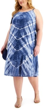 Style&Co. Style & Co Plus Size Tie-Dyed Drop-Waist Dress, Created for Macy's