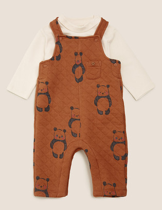 Marks and Spencer 2pc Cotton Quilted Panda Dungarees Outfit (0-3 Yrs)