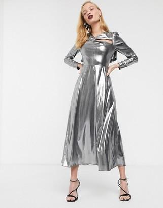 Asos metallic long sleeve midi dress-Silver