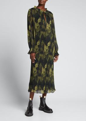Ganni Pleated Georgette Midi Dress