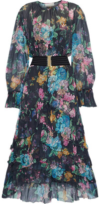 Zimmermann Ninety-six Ruffled Floral-print Silk-georgette Midi Dress