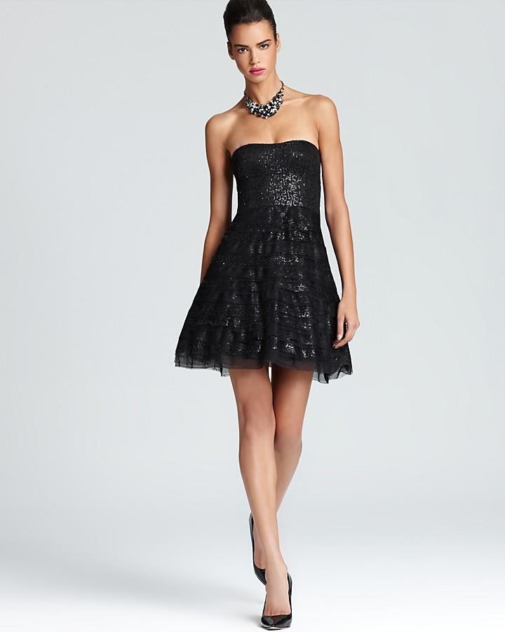 BCBGMAXAZRIA Strapless Dress - Sequin Pleated Skirt
